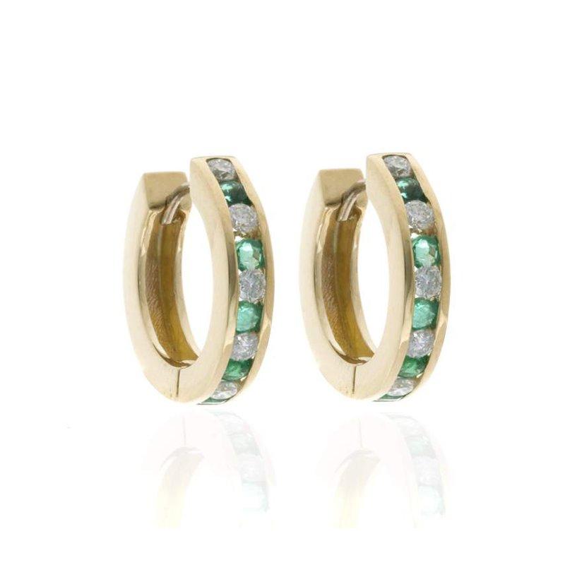 14K Yellow Gold Diamond and Emerald Hoop Earrings