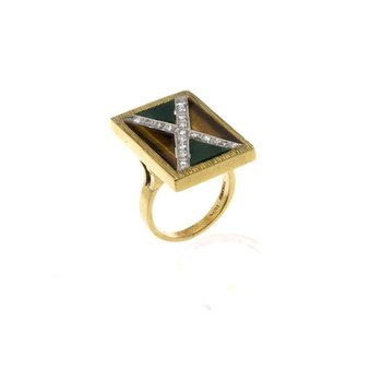 14K Yellow Gold Diamond, Malachite and Tiger Eye Ring