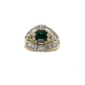 18K Two Tone Emerald and Diamond Ring