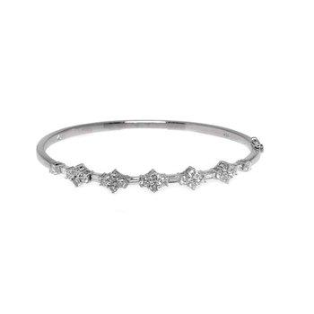 18K White Gold and Diamond Bangle Bracelet