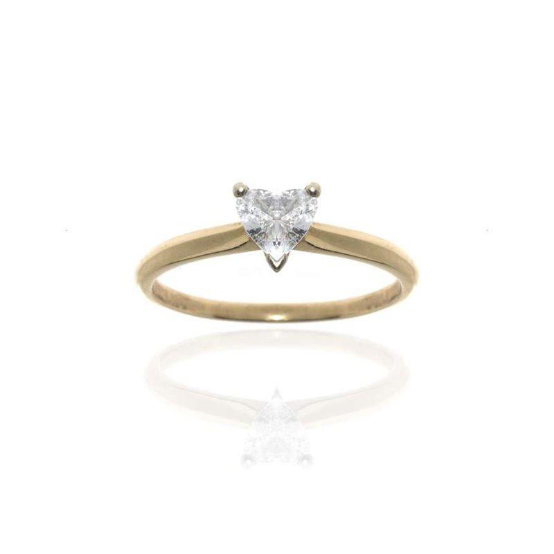 14K Yellow Gold Heart Shaped Diamond Engagement Ring