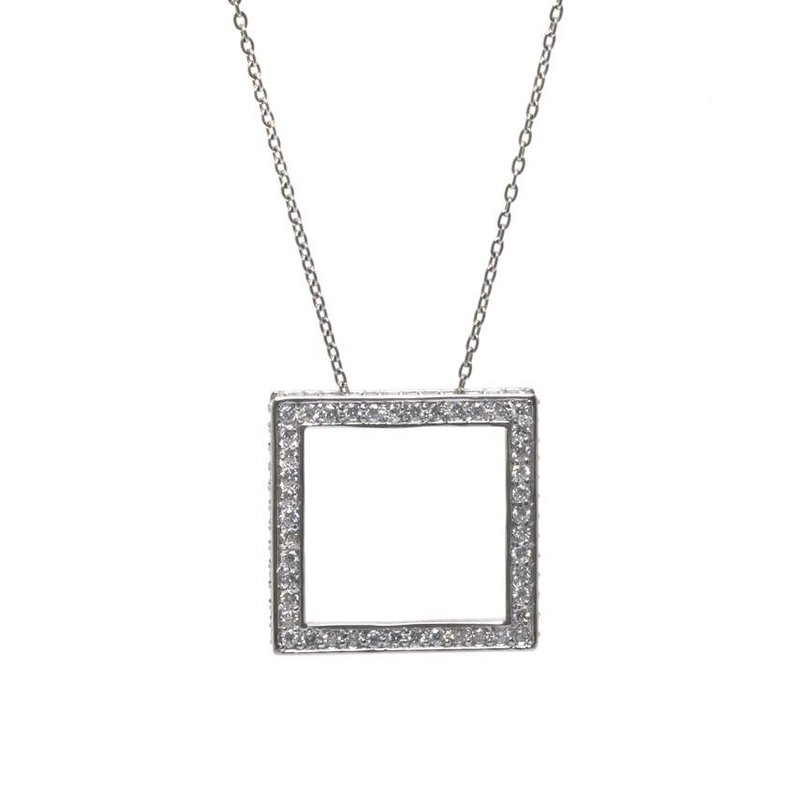 14K White Gold and Diamond Square Shaped Necklace
