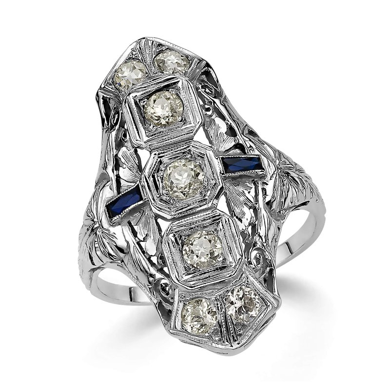 18K White Gold Sapphire and Diamond Ring with Baguettes