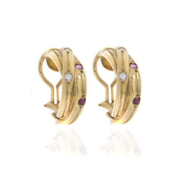 18K Yellow Gold Diamond, Sapphire and Ruby Earrings