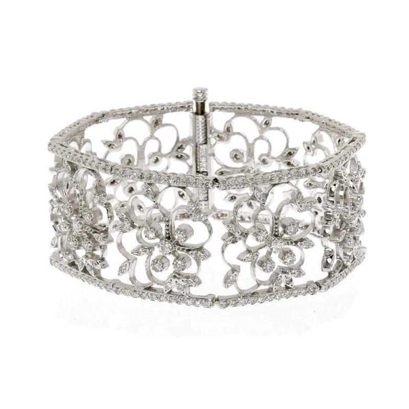 14K White Gold and Diamond Vintage Style Bracelet