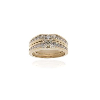 14K Yellow Gold and Diamond Semi-Mount Engagement Ring and Wedding Band