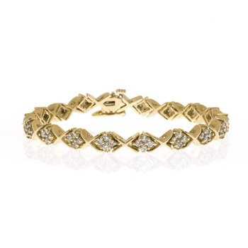 "14K Yellow Gold and Diamond ""X and O"" Bracelet"