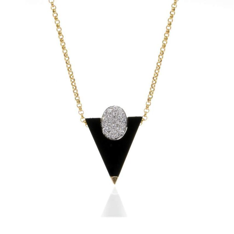 14K Yellow Gold Onyx and Diamond Necklace