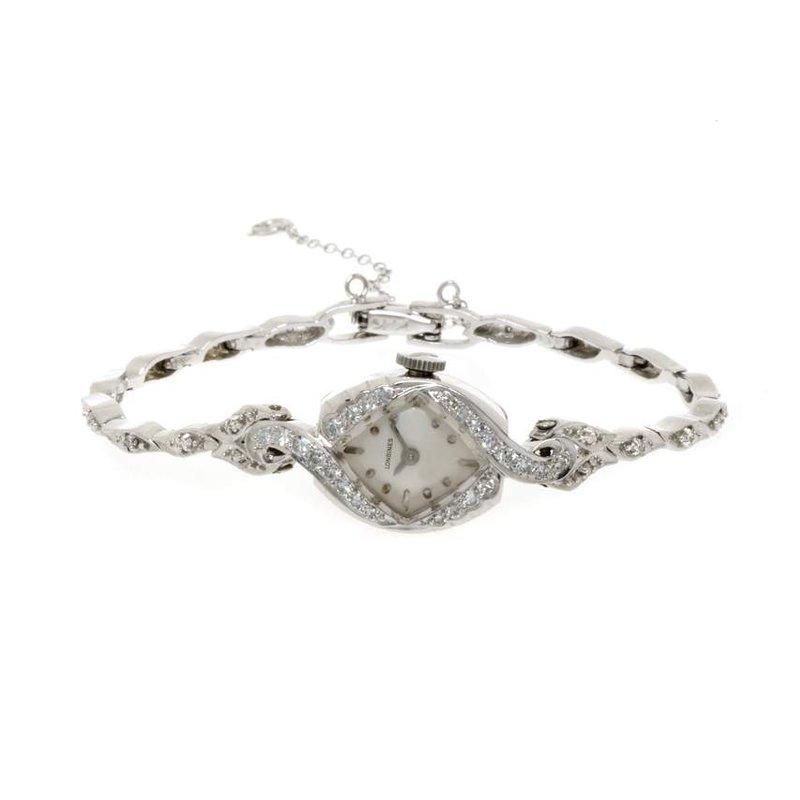 14K White Gold and Diamond Vintage Longines Ladies Watch