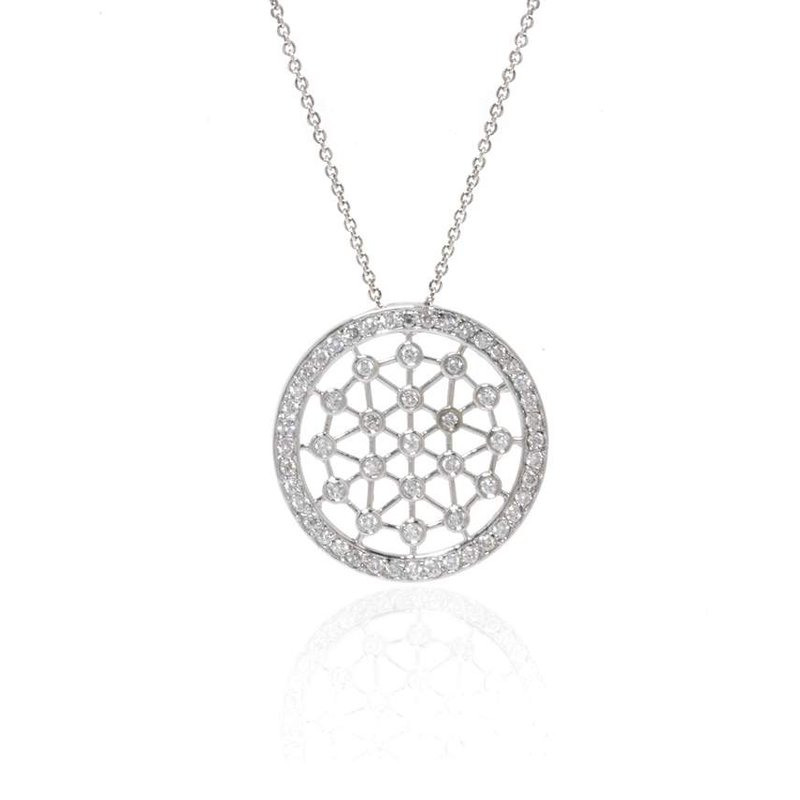 14K White Gold Round Necklace