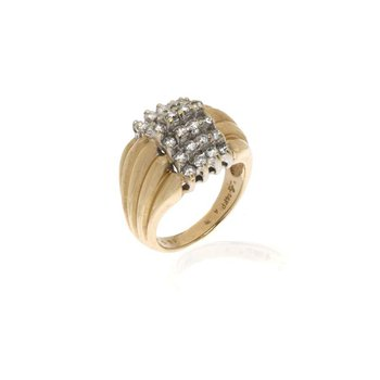 14K Two-Tone Gold and Diamond Cocktail Ring
