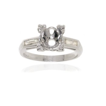 Platinum Three Stone Diamond Engagement Ring Vintage