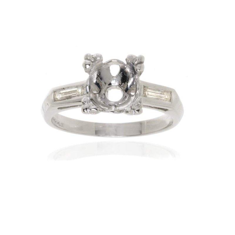 Platinum Three Stone Diamond Engagement Ring Vintage