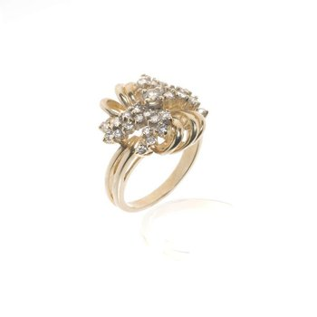 14K Yellow Gold Diamond Bridge Ring