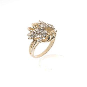 14K Yellow Gold Diamond Bridge Ring