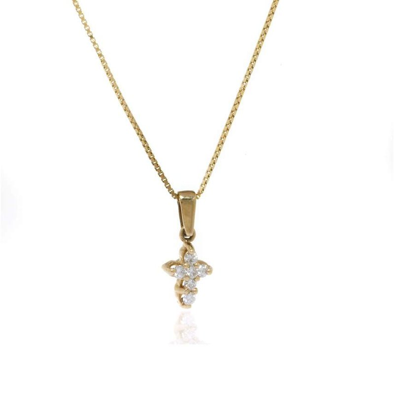 14K Yellow Gold and Diamond Cross Necklace