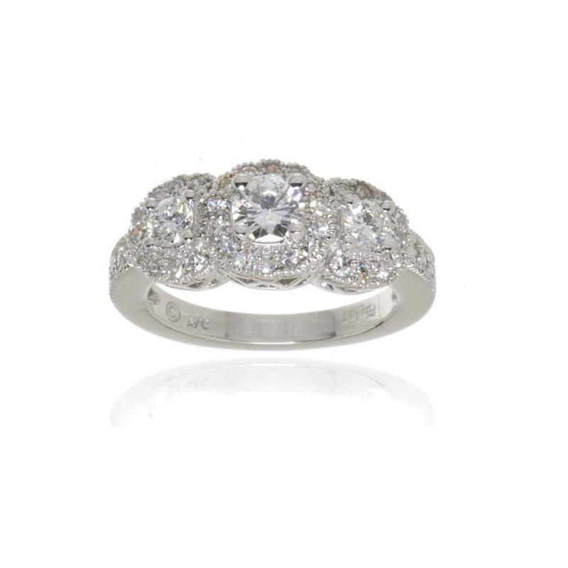 Platinum and Round Brilliant Cut Diamond Ring