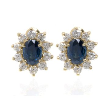 18K Yellow Gold Diamond and Sapphire Cluster Earrings