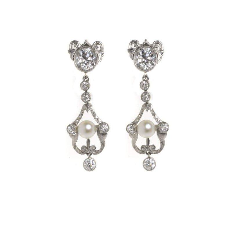 Platinum, Diamond and Pearl Earrings
