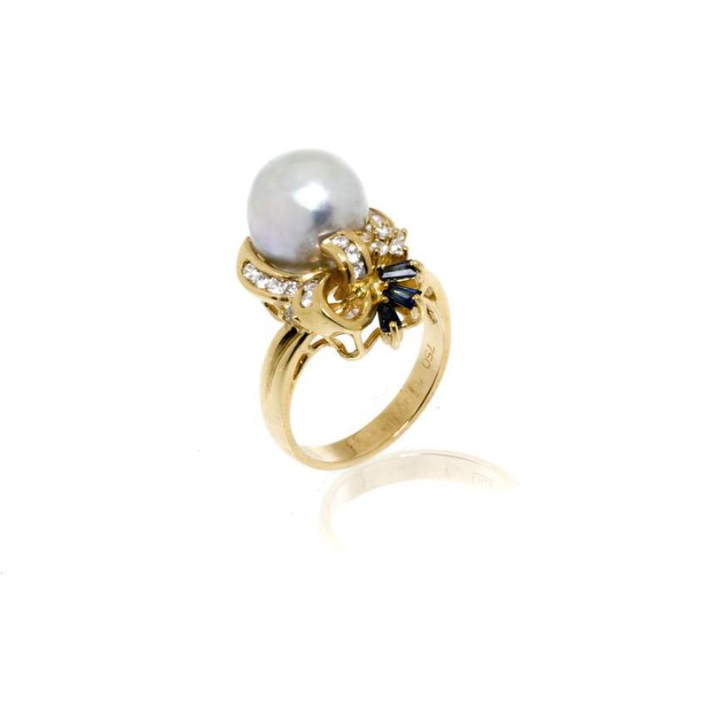 18K Yellow Gold Pearl, Sapphire and Diamond Cocktail Ring