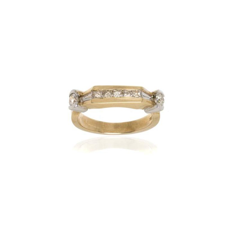 14K Two-Tone Gold and Diamond Wedding Band