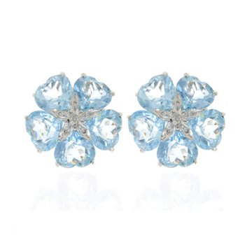 14K White Gold Blue Topaz and Diamond Flower Earrings