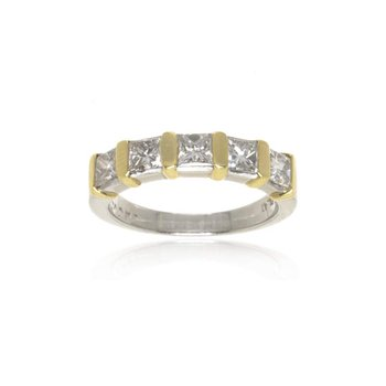 18K Yellow Gold, Platinum, and Diamond Wedding Band