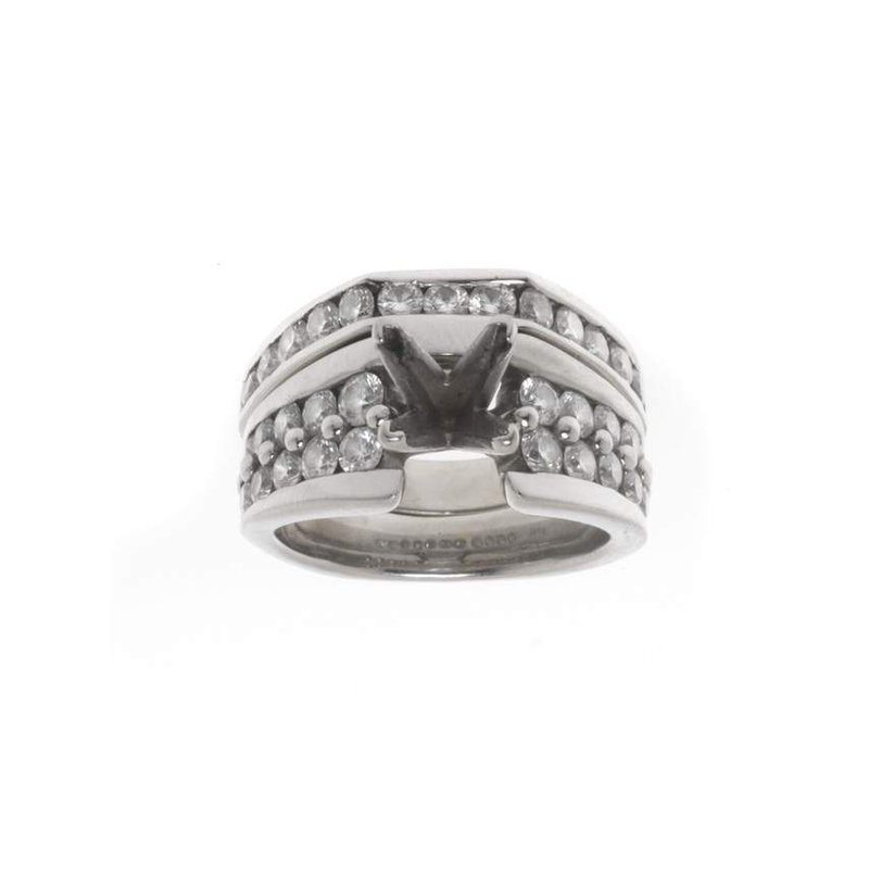 14K White Gold and Diamond Semi Mounting Wedding Set