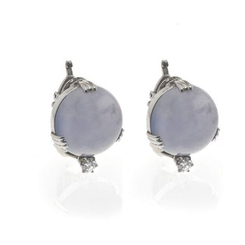 14K White Gold Chalcedony and Diamond Earrings