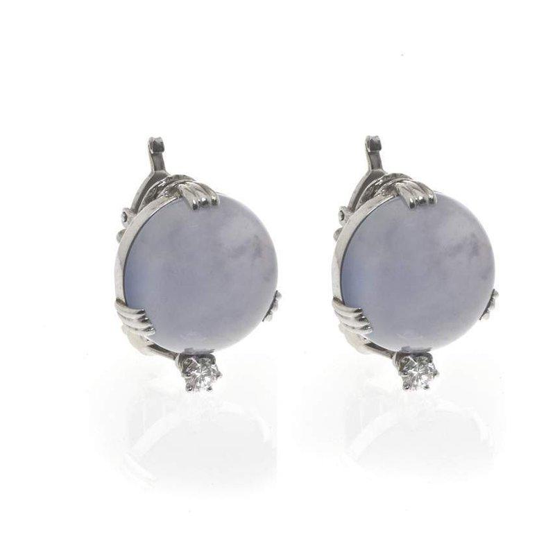 14K White Gold Chalcedony and Diamond Earrings