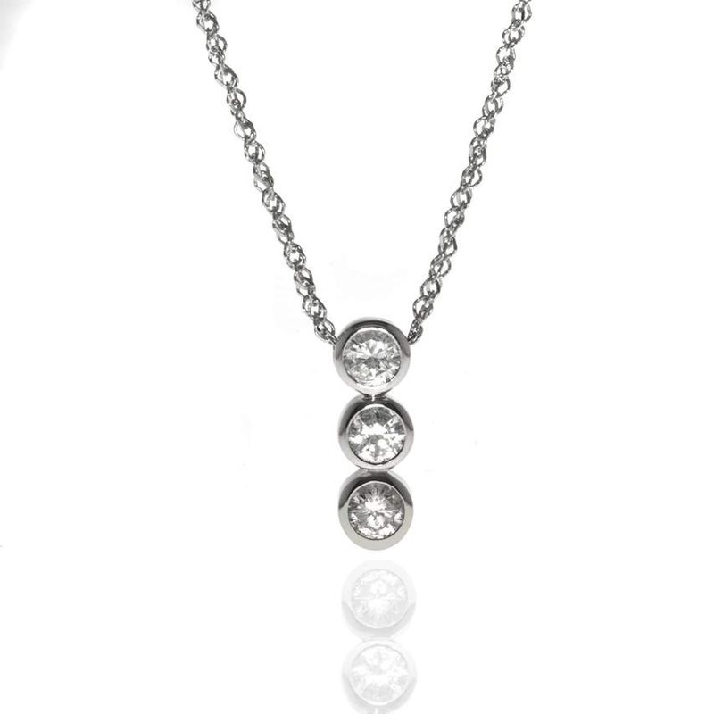 14K White Gold and Diamond Journey Necklace