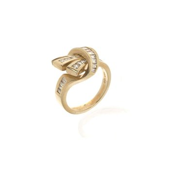 14K Yellow Gold and Diamond Cocktail Ring