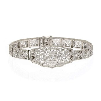 14K White Gold, Platinum, and Diamond Bracelet