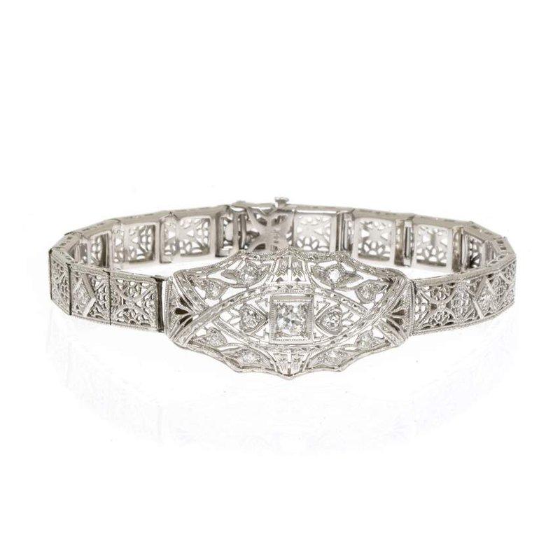 14K White Gold, Platinum, and Diamond Bracelet