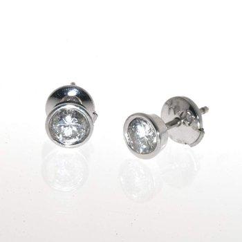 14K White Gold Bezel Set Diamond Earrings