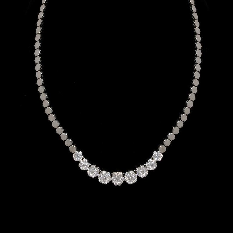 14K White Gold and Diamond Cluster Necklace