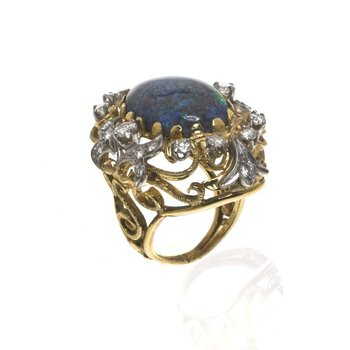18K Two Tone Gold Black Opal and Diamond Ring