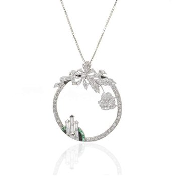 Platinum Diamond and Emerald Pendant