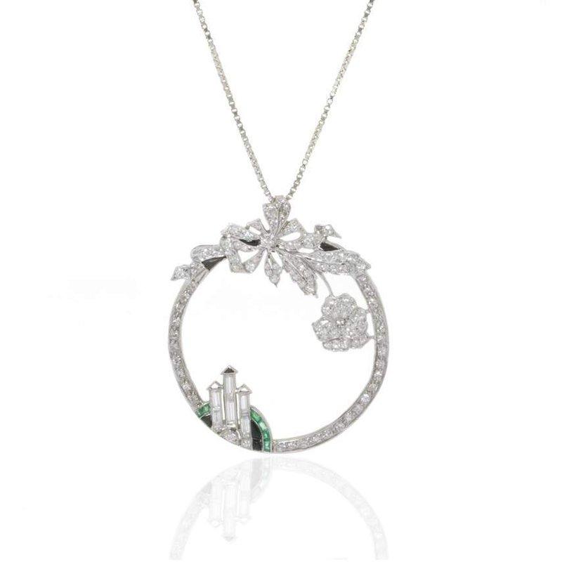 Platinum Diamond and Emerald Pendant