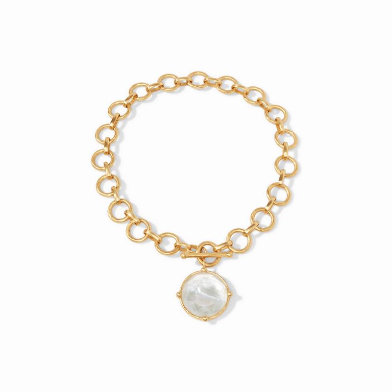 Julie Vos L Honeybee Statement Gold Iridescent Clear Crystal Necklace