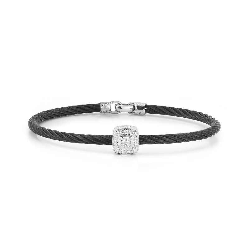 ALOR Black Cable Essential Stackable Bracelet With Single Large Square Diamond Station Set In 18Kt White Gold