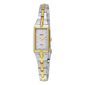Solar Quartz White Dial Two-Tone Ladies Watch