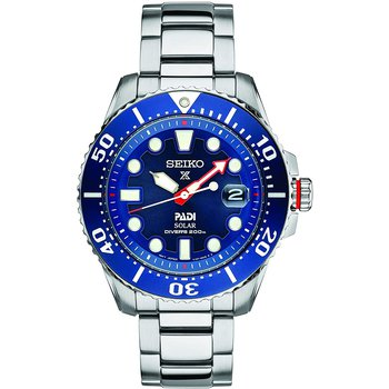 Seiko Prospex Padi Solar Diver Stainless Case Blue Dial 20Atm Steel Band Men'S Watch Sne549
