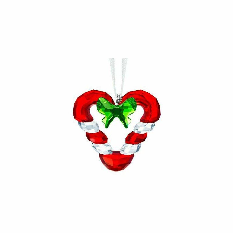 Swarovski Crystal Joyful Candy Cane Heart Ornament