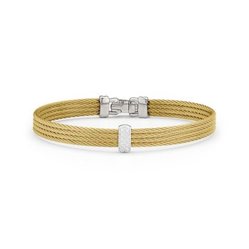Yellow Cable Barred Bracelet With 18Kt White & Diamonds