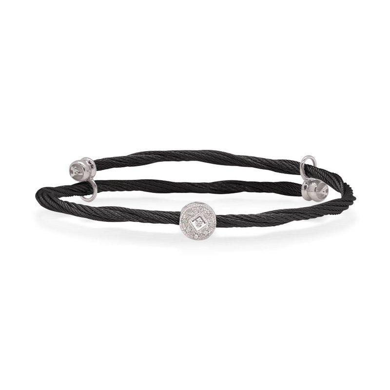 ALOR Alor Flex Bracelet With Round Diamond Station Set In 18Kt White Gold
