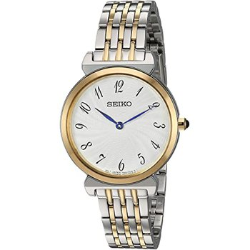 Dress Womens Two Tone Stainless Steel Band Silver Quartz Dial Watch