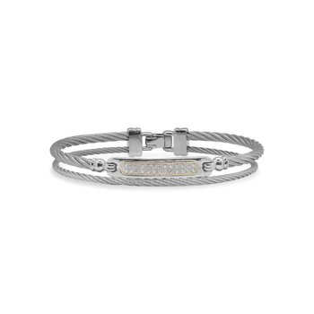 Grey Cable Id Bracelet With 18Kt Yellow Gold &Amp
