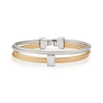 Alor Grey & Yellow Cable Small 2 Row Simple Stack Bracelet With 18Kt White Gold &Amp; Diamonds
