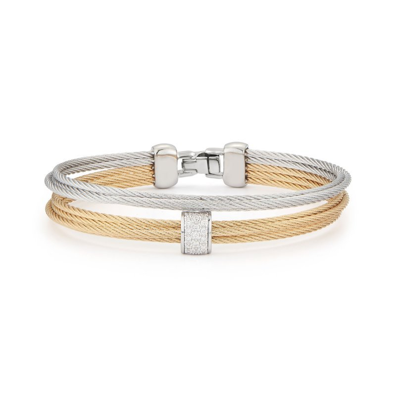 ALOR Alor Grey & Yellow Cable Small 2 Row Simple Stack Bracelet With 18Kt White Gold &Amp; Diamonds